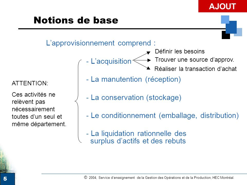 Notions de base AJOUT - L'acquisition - La manutention (réception)