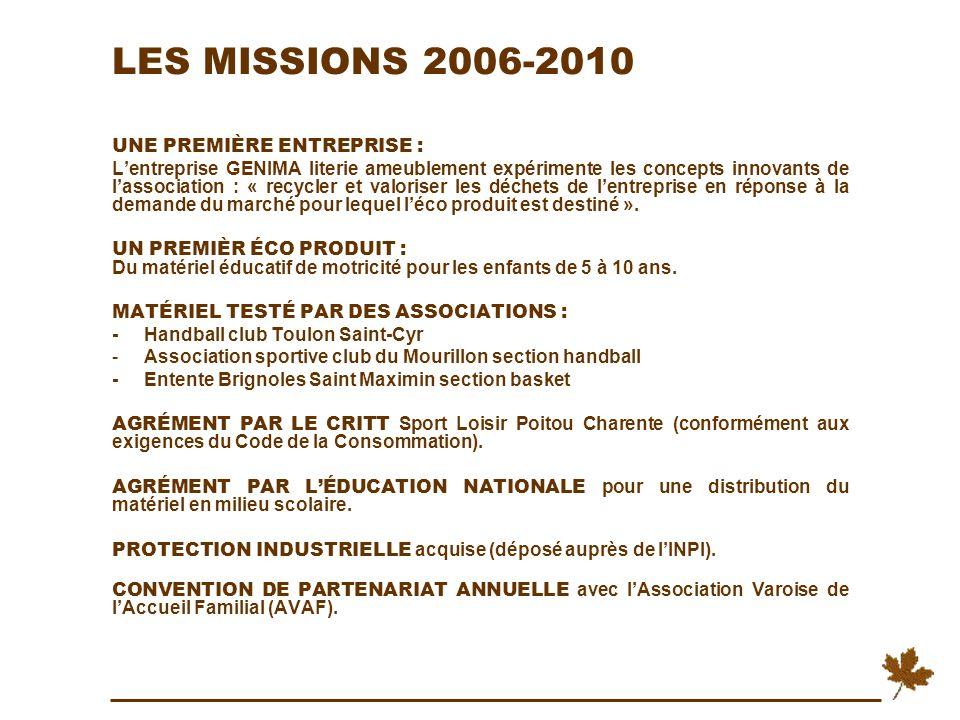 LES MISSIONS 2006-2010 UNE PREMIÈRE ENTREPRISE :