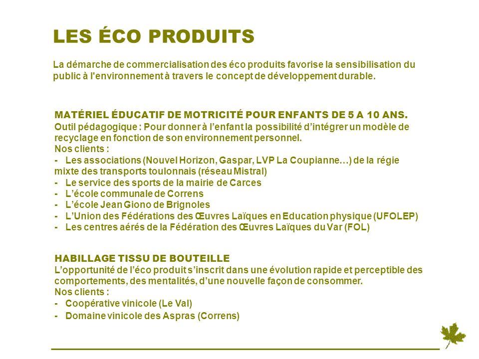 LES ÉCO PRODUITS La démarche de commercialisation des éco produits favorise la sensibilisation du public à l environnement à travers le concept de développement durable.