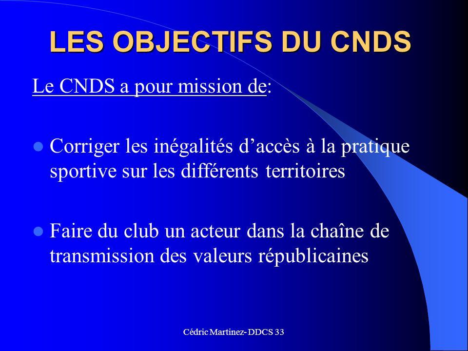 LES OBJECTIFS DU CNDS Le CNDS a pour mission de: