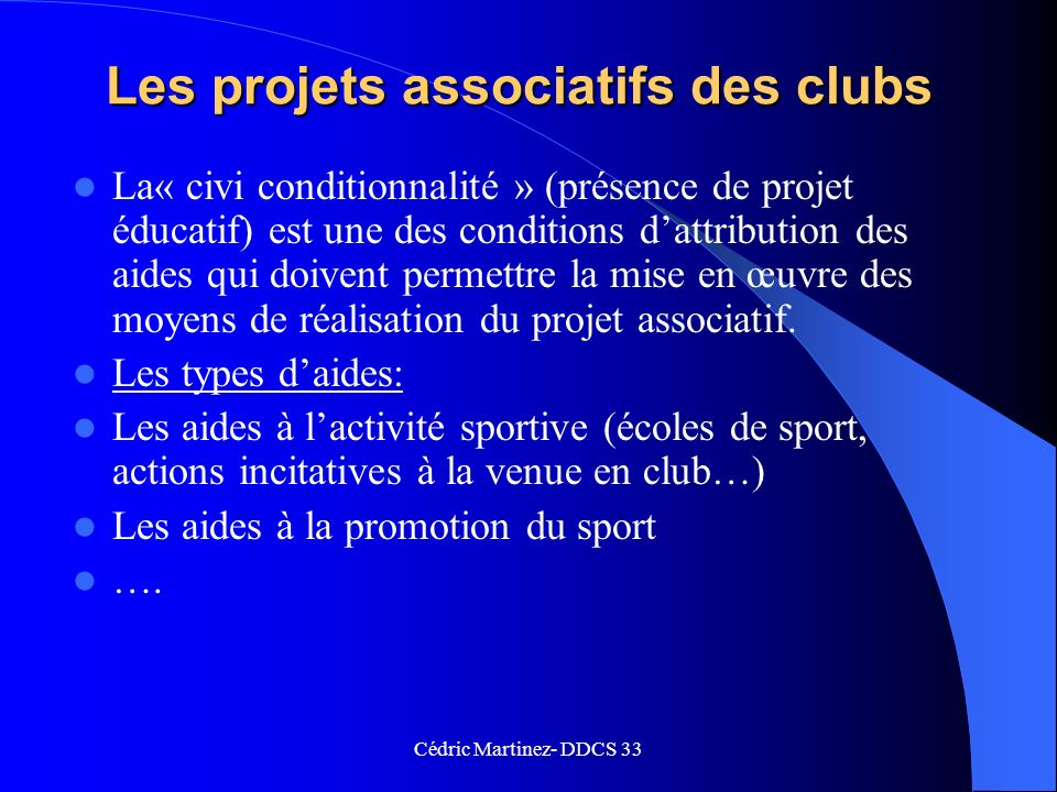 Les projets associatifs des clubs