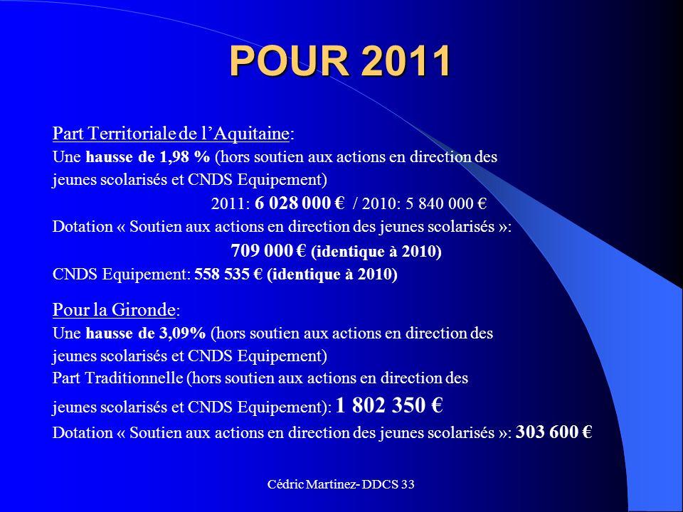 POUR 2011 Part Territoriale de l'Aquitaine: