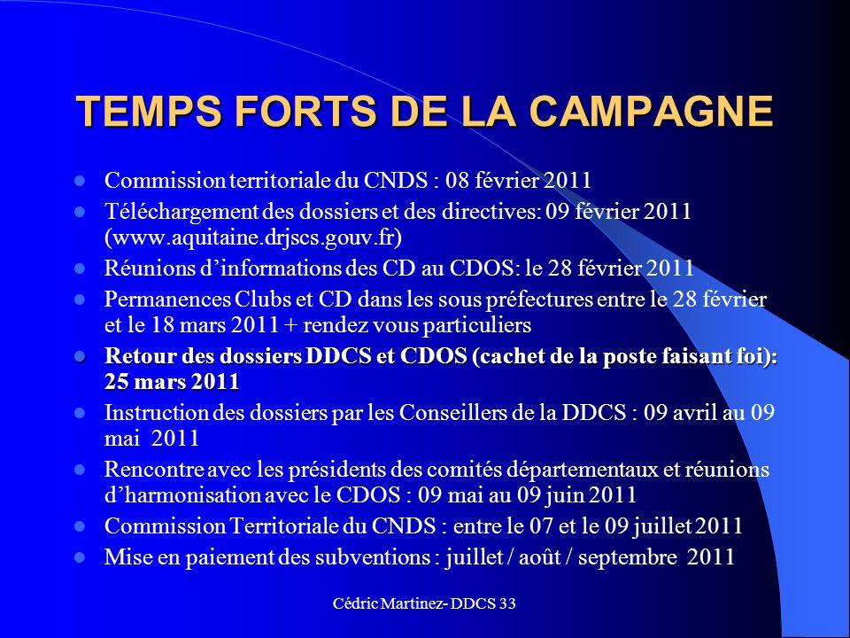 TEMPS FORTS DE LA CAMPAGNE