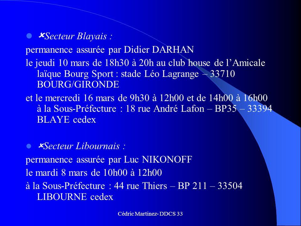 Secteur Blayais : permanence assurée par Didier DARHAN