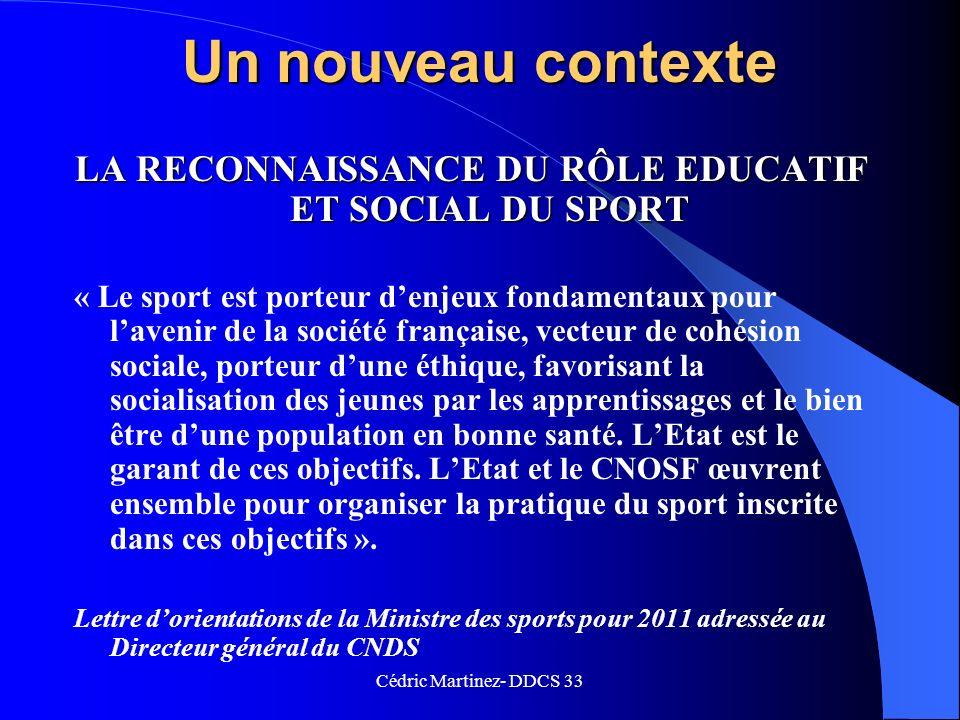 LA RECONNAISSANCE DU RÔLE EDUCATIF ET SOCIAL DU SPORT