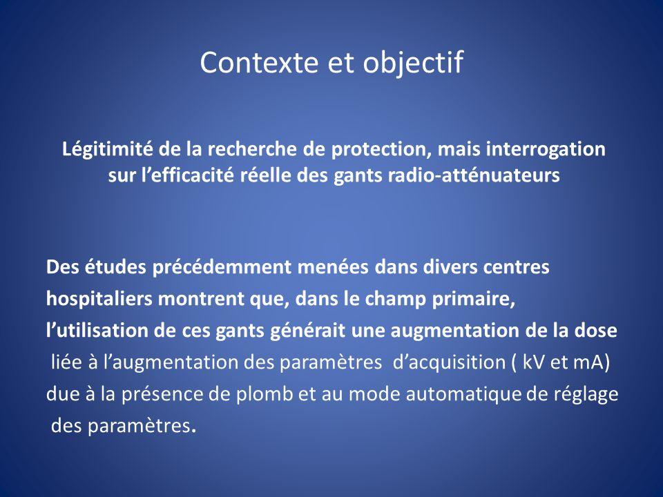 Contexte et objectif Légitimité de la recherche de protection, mais interrogation sur l'efficacité réelle des gants radio-atténuateurs.