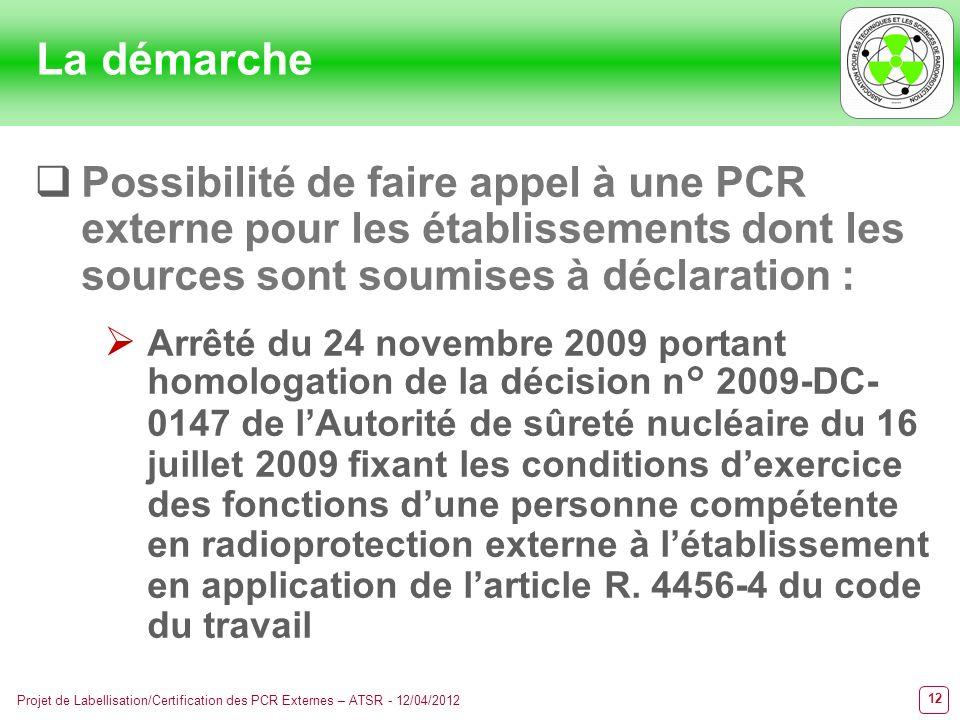La démarche Possibilité de faire appel à une PCR externe pour les établissements dont les sources sont soumises à déclaration :
