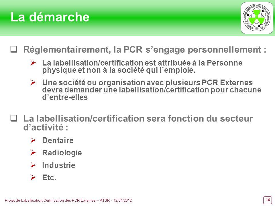 La démarche Réglementairement, la PCR s'engage personnellement :