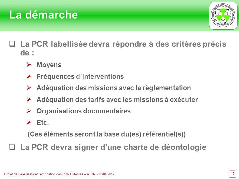La démarche La PCR labellisée devra répondre à des critères précis de : Moyens. Fréquences d'interventions.