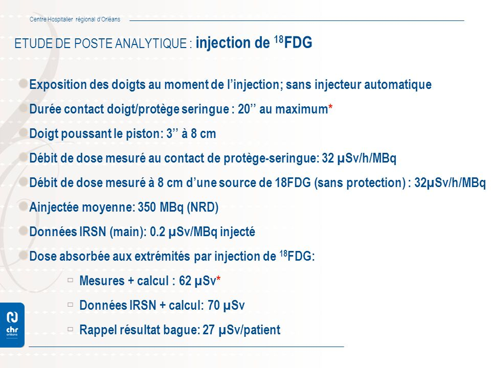 ETUDE DE POSTE ANALYTIQUE : injection de 18FDG