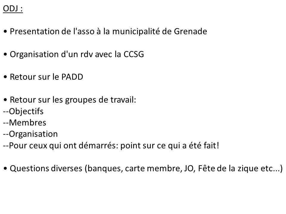 ODJ : Presentation de l asso à la municipalité de Grenade. Organisation d un rdv avec la CCSG. Retour sur le PADD.