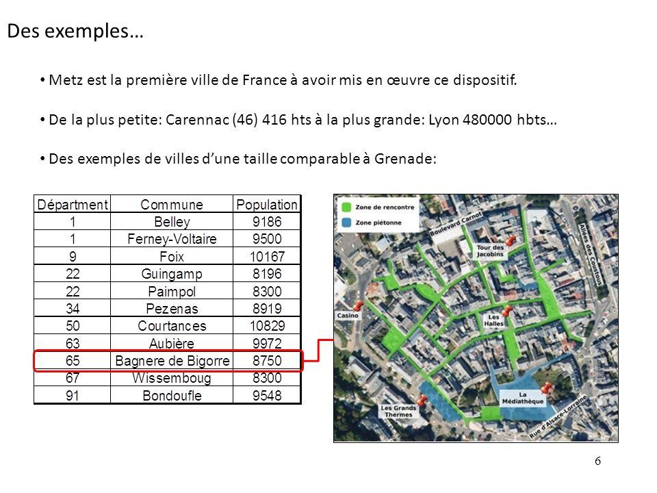 Des exemples… Metz est la première ville de France à avoir mis en œuvre ce dispositif.