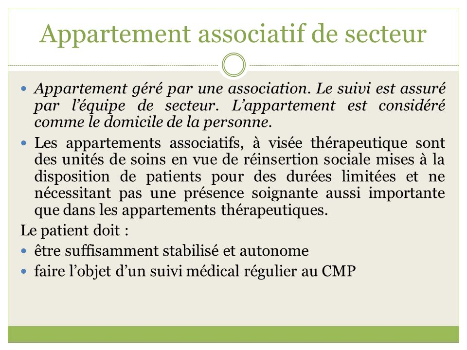 Appartement associatif de secteur