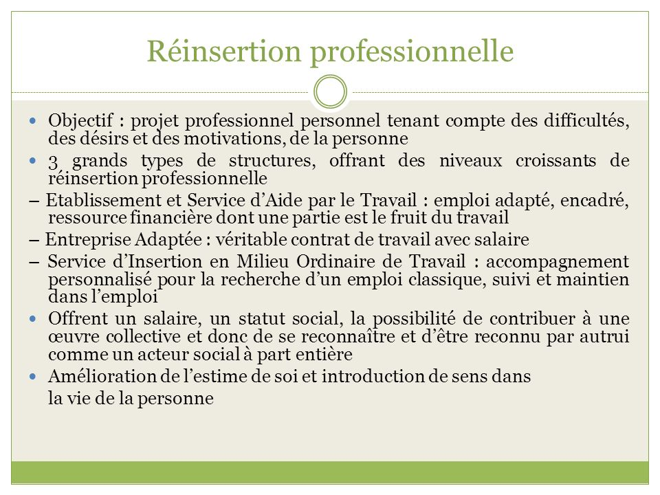 Réinsertion professionnelle