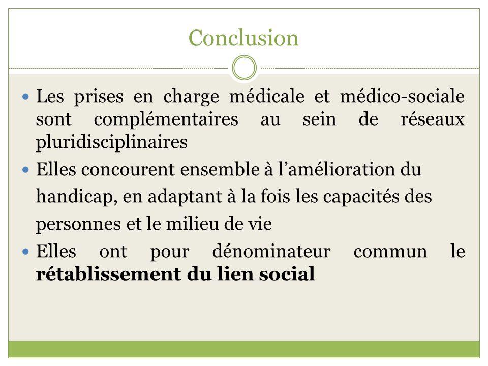 Conclusion Les prises en charge médicale et médico-sociale sont complémentaires au sein de réseaux pluridisciplinaires.