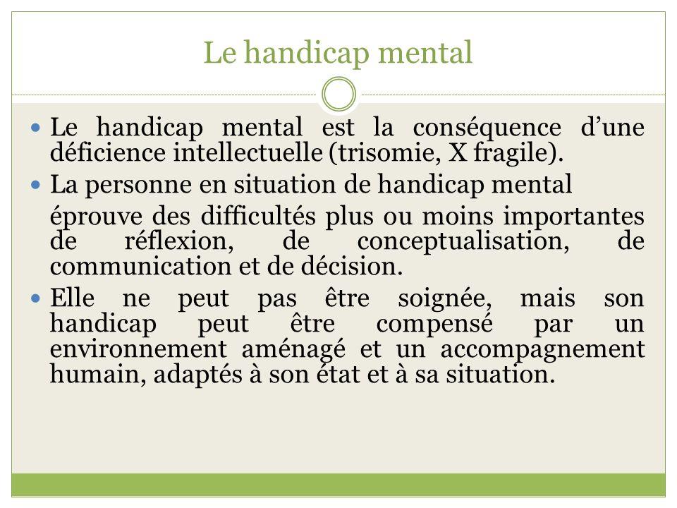 Le handicap mental Le handicap mental est la conséquence d'une déficience intellectuelle (trisomie, X fragile).