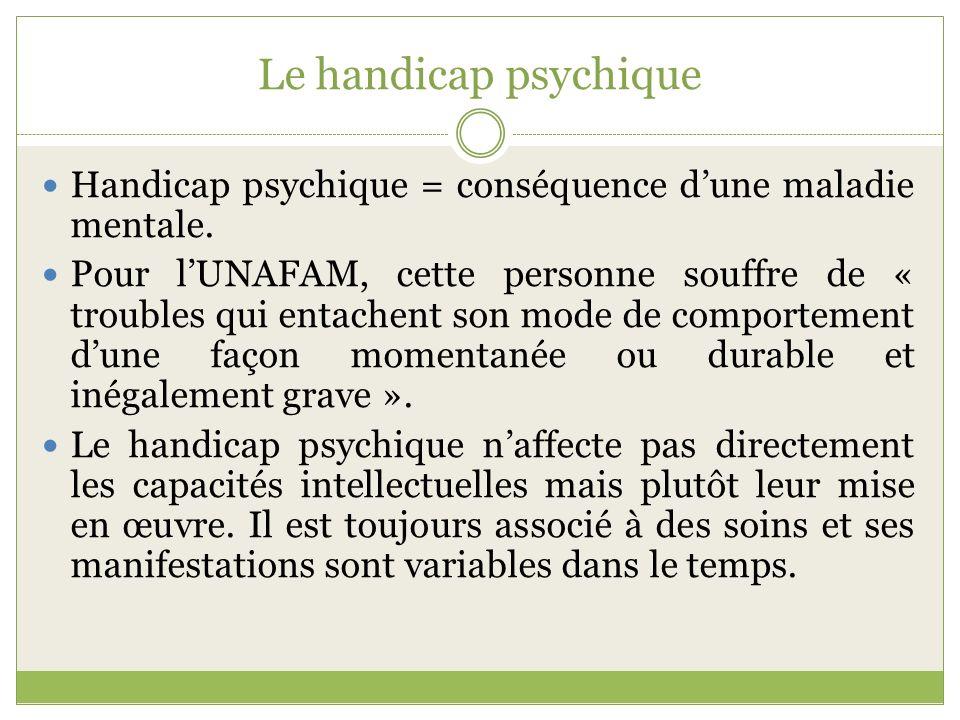 Le handicap psychique Handicap psychique = conséquence d'une maladie mentale.