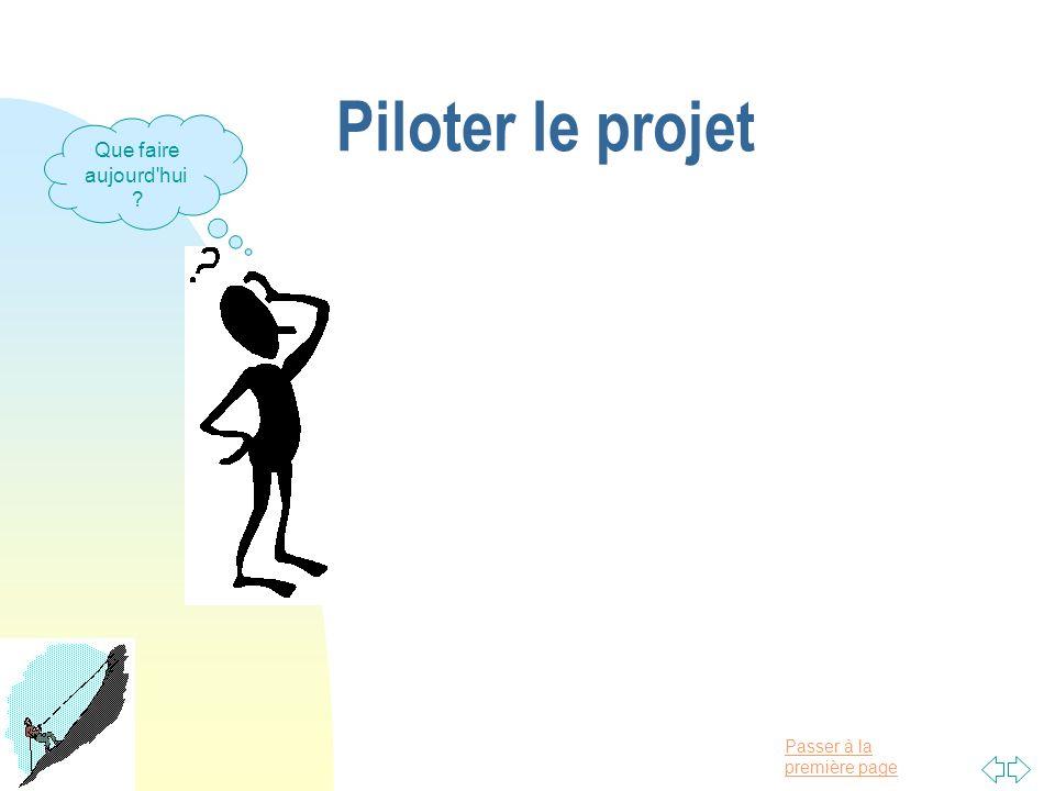 Piloter le projet Que faire aujourd hui