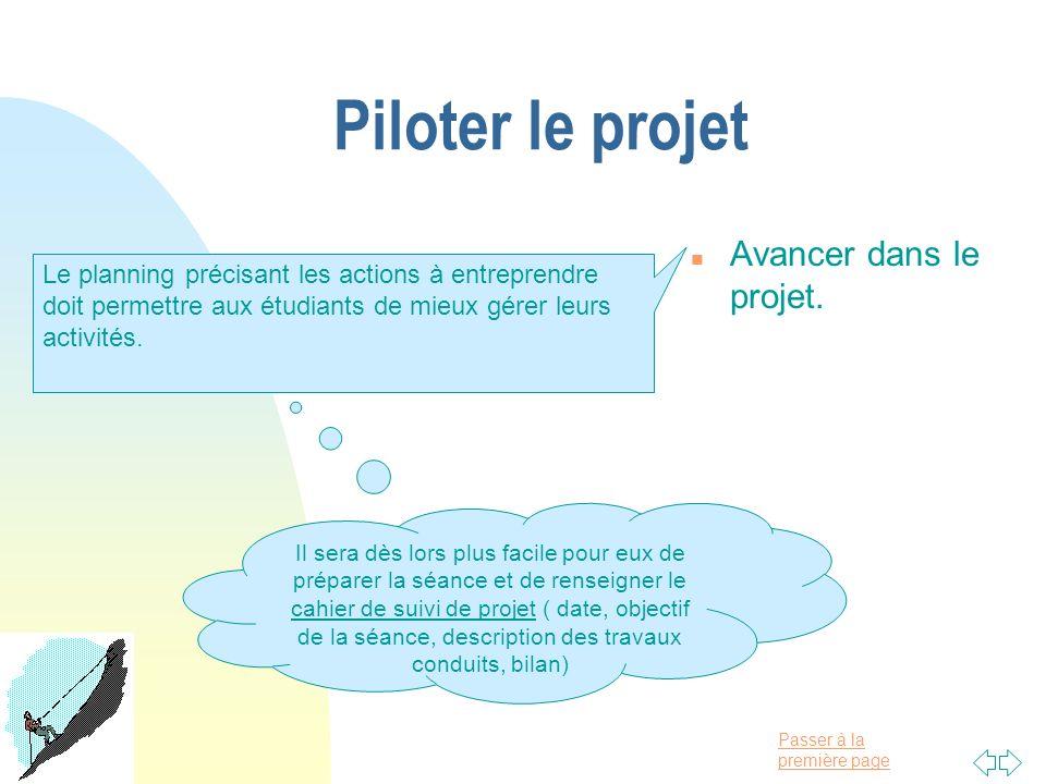 Piloter le projet Avancer dans le projet.