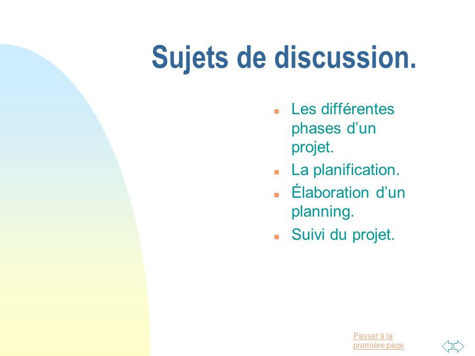 Sujets de discussion. Les différentes phases d'un projet.