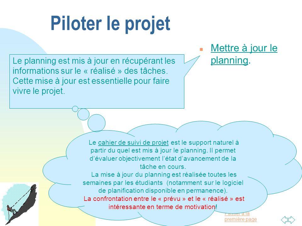 Piloter le projet Mettre à jour le planning.