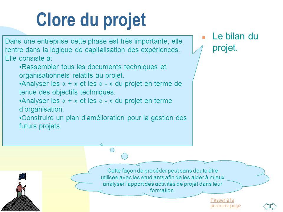 Clore du projet Le bilan du projet.