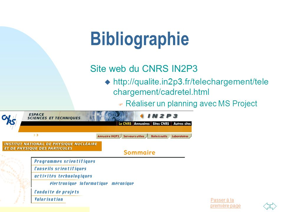 Bibliographie Site web du CNRS IN2P3