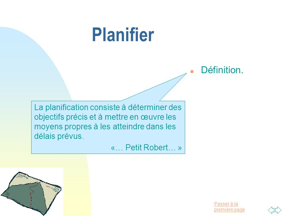 Planifier Définition.