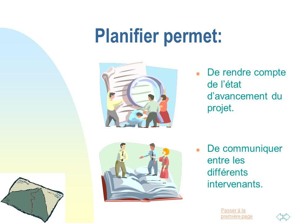 Planifier permet: De rendre compte de l'état d'avancement du projet.