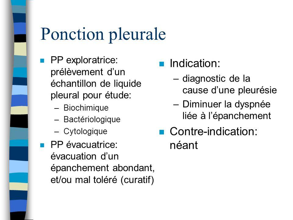 Ponction pleurale Indication: Contre-indication: néant