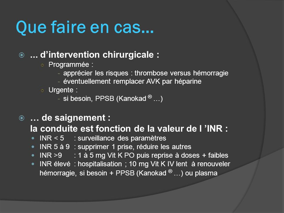 Que faire en cas… ... d'intervention chirurgicale : … de saignement :