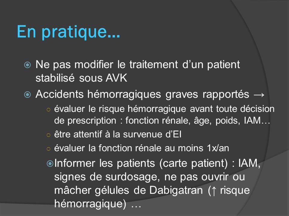 En pratique… Ne pas modifier le traitement d'un patient stabilisé sous AVK. Accidents hémorragiques graves rapportés →