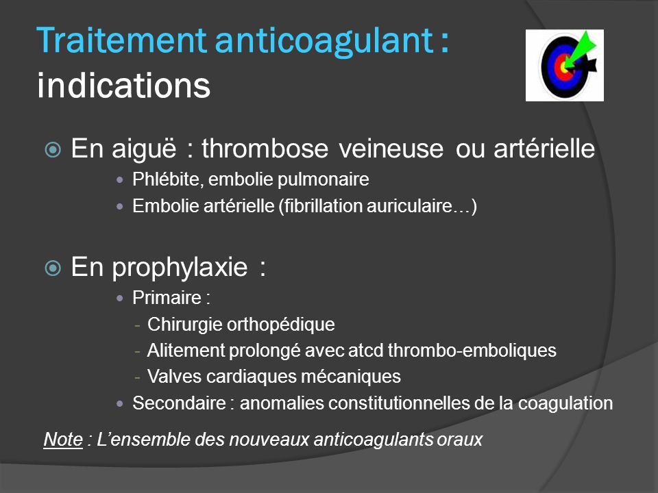 Traitement anticoagulant : indications