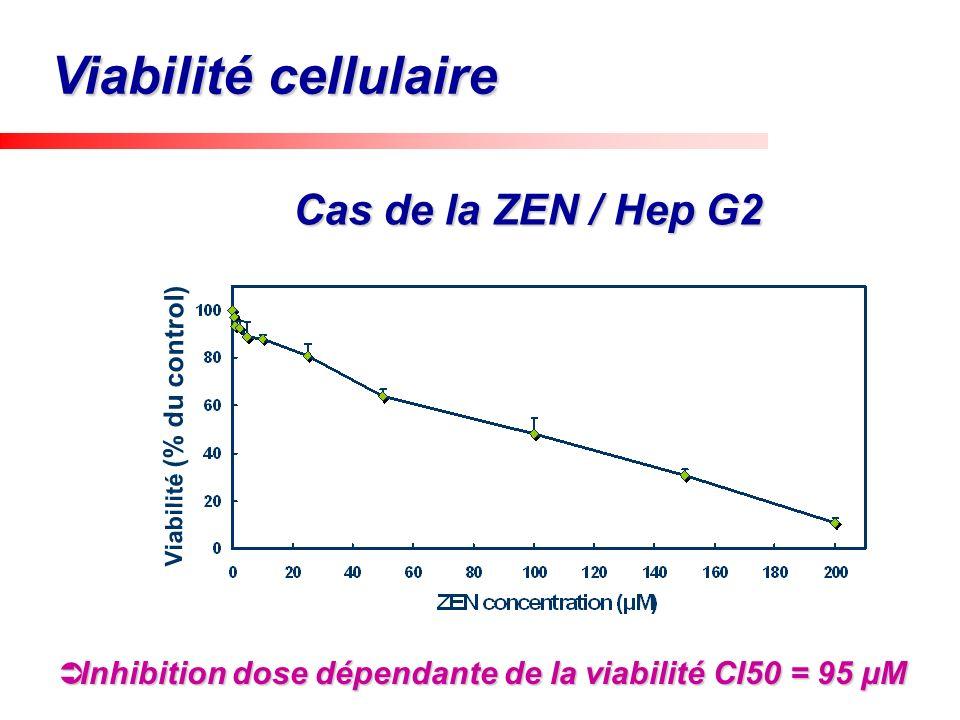 Cas de la ZEN / Hep G2 Viabilité cellulaire Viabilité (% du control)