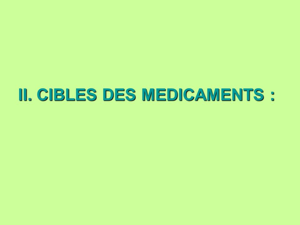 II. CIBLES DES MEDICAMENTS :