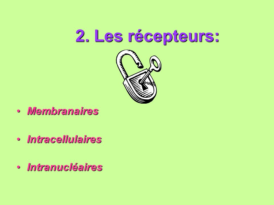 2. Les récepteurs: Membranaires Intracellulaires Intranucléaires