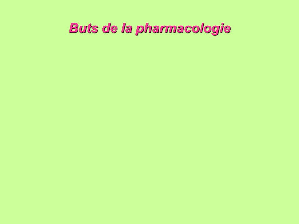 Buts de la pharmacologie