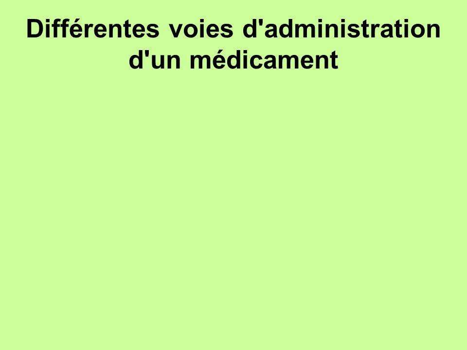 Différentes voies d administration d un médicament