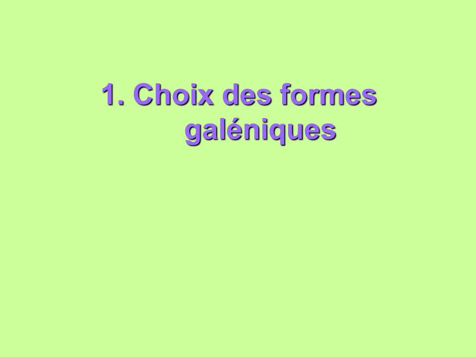 1. Choix des formes galéniques
