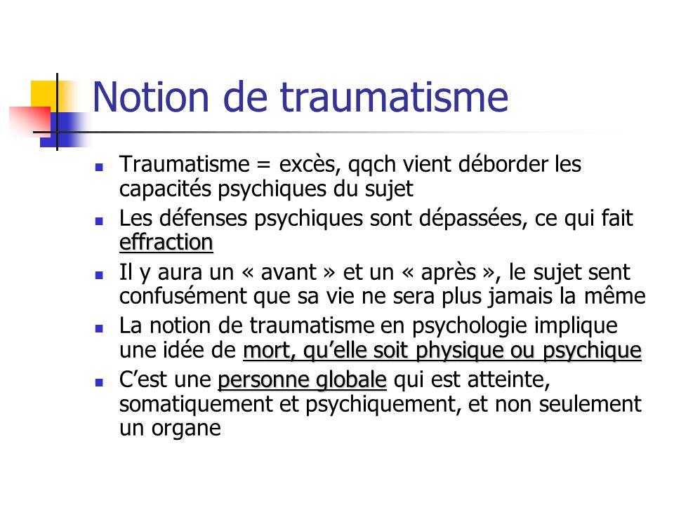 Notion de traumatisme Traumatisme = excès, qqch vient déborder les capacités psychiques du sujet.