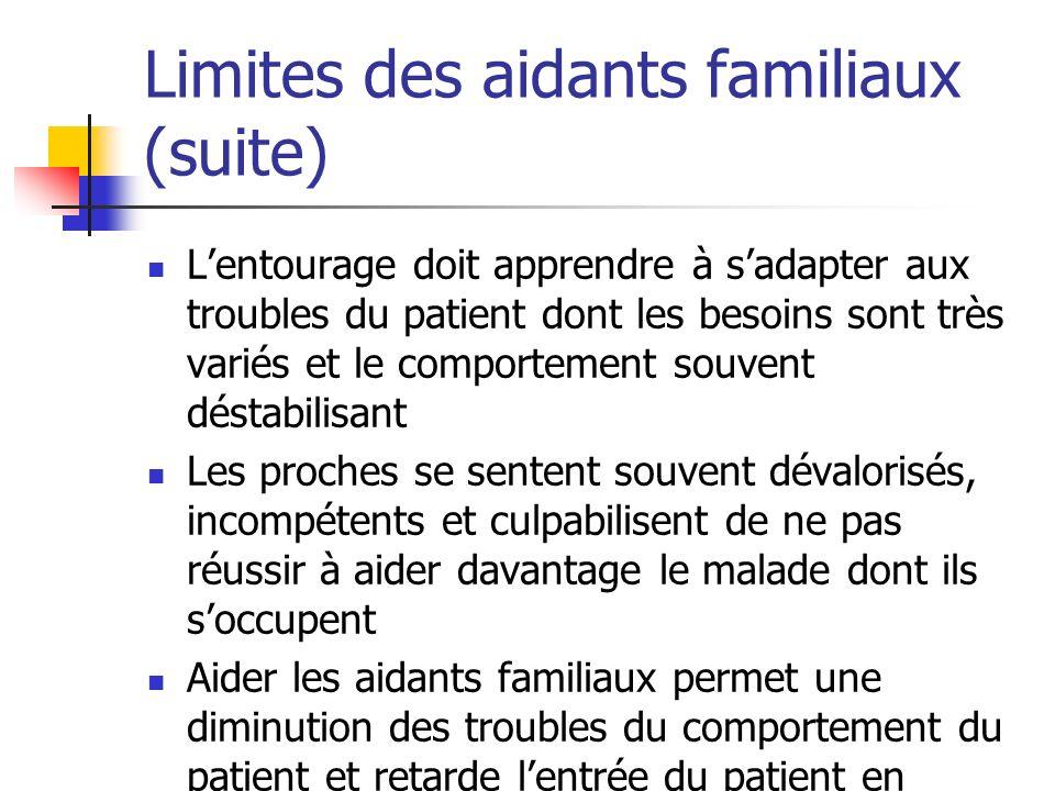 Limites des aidants familiaux (suite)