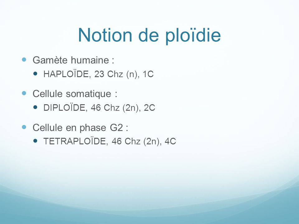 Notion de ploïdie Gamète humaine : Cellule somatique :