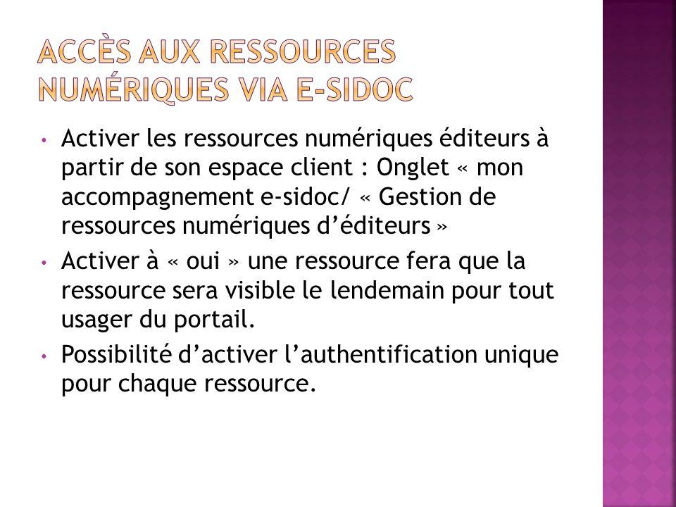 Accès aux ressources numériques via e-sidoc