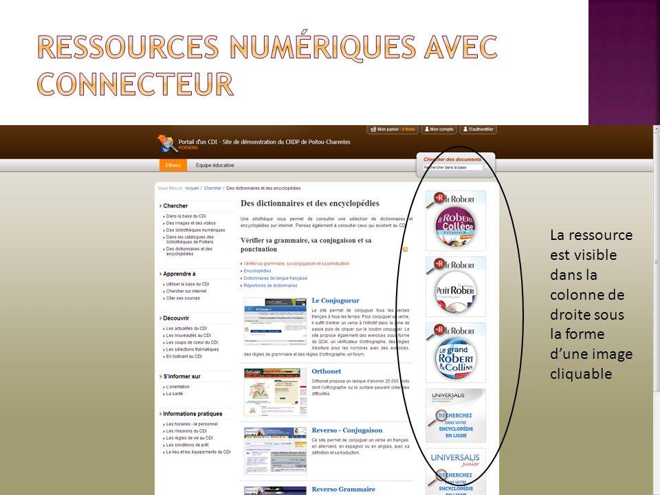Ressources numériques avec connecteur