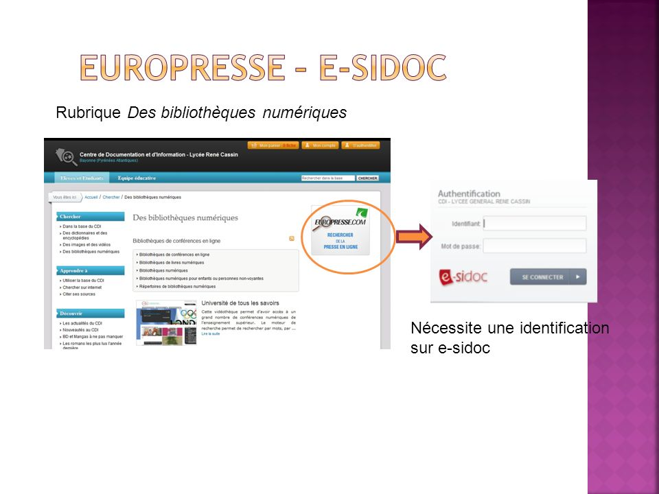 Europresse – E-sidoc Rubrique Des bibliothèques numériques
