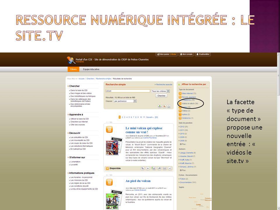 Ressource numérique intégrée : Le Site.tv