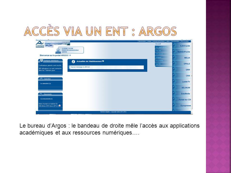Accès via un ENT : Argos Le bureau d'Argos : le bandeau de droite mêle l'accès aux applications académiques et aux ressources numériques….
