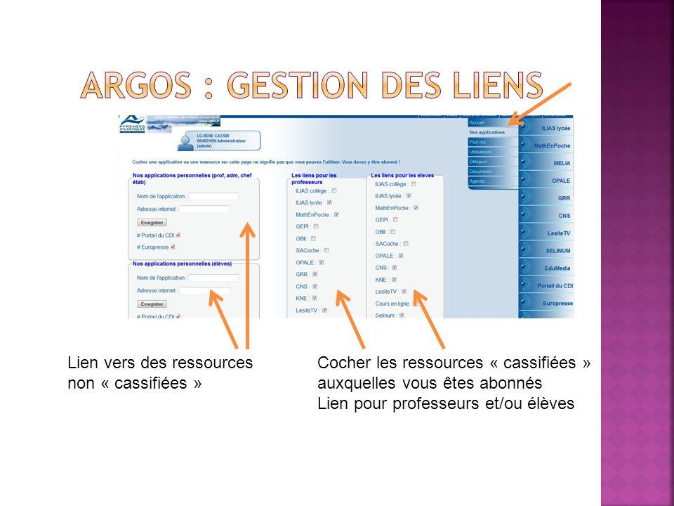 Argos : gestion des liens