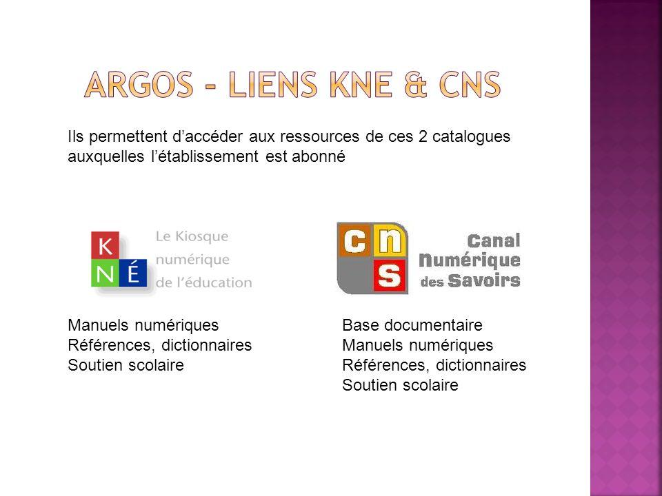 Argos - Liens KNE & CNSIls permettent d'accéder aux ressources de ces 2 catalogues. auxquelles l'établissement est abonné.