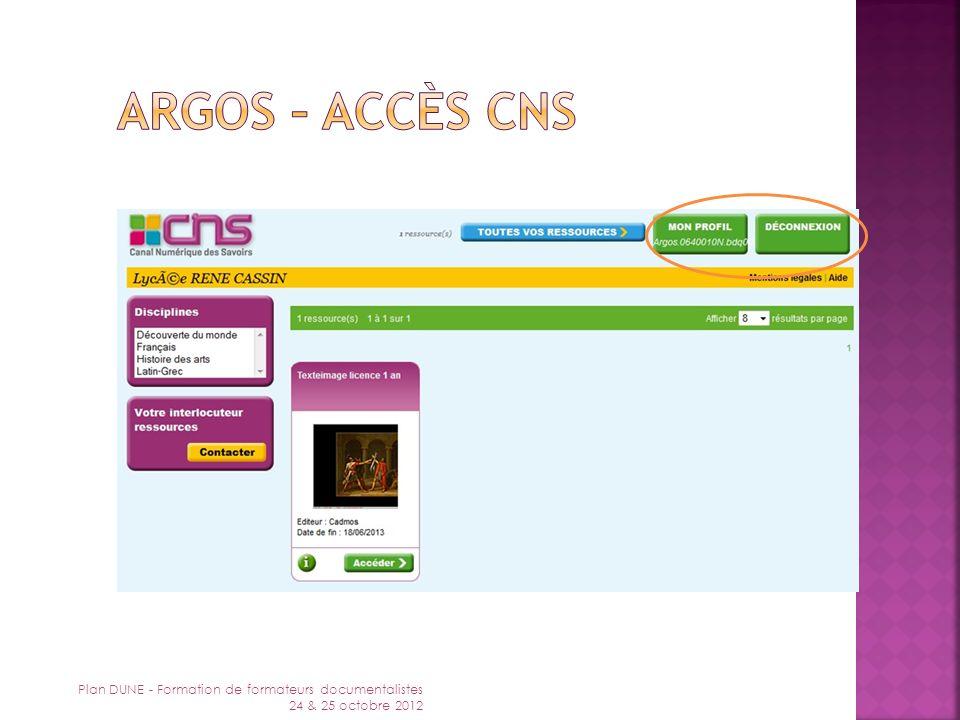 Argos – accès CNS Plan DUNE - Formation de formateurs documentalistes 24 & 25 octobre 2012
